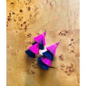 Pink & Navy Tassel earrings never worn!